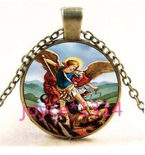Chain Pendant Necklace Ts-4075 Archangel Michael Cabochon bronze Glass