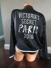Victoria's Secret Paris Fashion Show 2016 Black White Silver Bomber Jacket SZ:L