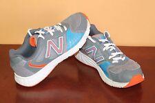 NEW BALANCE Grade School KJ555GOY Tennis Shoes Gray/Orange/Blue/White Size 5.5