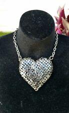 Black Silver Rhinestone Heart Pendant Necklace Chain