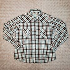 Panhandle Western Shirt Womens L Pearl Snaps Long Sleeves Embroidered (E01)