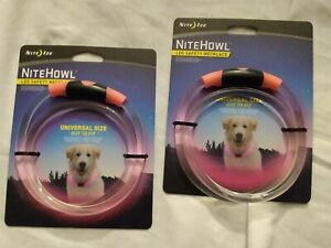 Lot of 2 Nite Ize NiteHowl LED Light Dog Collar Necklace Night Safety pink