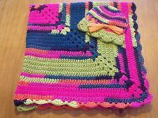 Handmade Crochet Baby Blanket/Hat Set - Shower Gift! Bright Neon Swirl Color