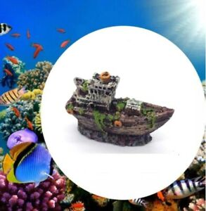 Aquarium Mini Resin Ship Boat Statue Decoration Fish Tank Shipwreck Ornament 80g