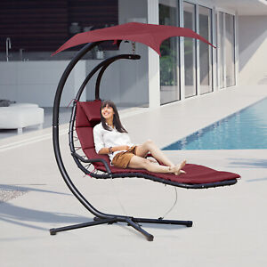Outdoor Hanging Hammock Chaise Hanging Chaise Lounge Chair w/ Arc Stand