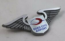 Vintage QUAD CITY AIRPORT Plastic Wings - Pin-Back Pin