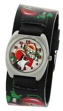 Tattoo Parlor Unisex Watch 30MM Silver Metal Base Decorative Bezel Leather Strap