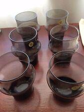 Vintage Smokey/Charcoal Drink Glasses Poland x 6