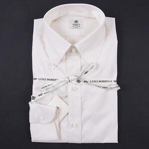 Luigi Borrelli Napoli Regular-Fit Eggshell White Twill Cotton Dress Shirt 14.5