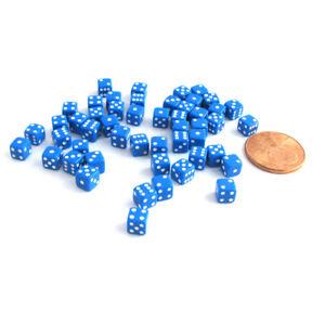 50 Six Sided D6 5mm .197 Inch Die Small Tiny Mini Miniature Blue Dice