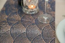 Blue & Gold Spotted Fabric Table Runner 2.5 Meters Long Elegant (8ft Length)