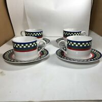 Set of 4 International Tableworks Ella's Rooster Bob Timberlake Cups Saucers 8pc
