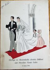 Wedding Menu 1946 w/Bride & Groom - France / French, Lunch & Dinner