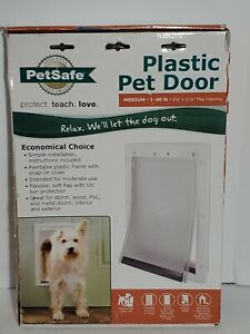 PetSafe Plastic Pet Door with Soft Tinted Flap, White, Medium Dog Entry Wall