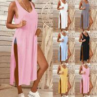 Été Mode Femmes Solide Décontracté Sans Manches Robe Plage Longues  Robe