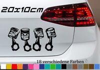 Zylinder Kolben 20x10cm Auto Aufkleber Audi VW Golf Opel Tuning V6 JDM Sticker
