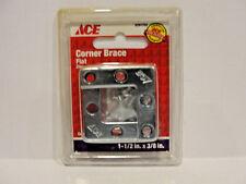 "Ace 5291752 Corner Brace, Flat, 1-1/2"" x 3/8"", Zinc, 4 Pcs"