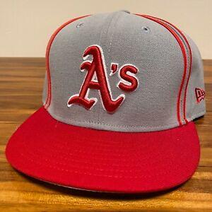 Oakland Athletics Hat Baseball Cap Fitted 7 1/2 New Era Gray Red Vintage MLB USA