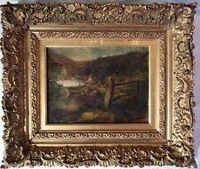 Original Alexander Fraser Jr (Scotland 1828-1899) O/B Landscape w/ Lake