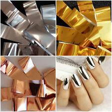 3 x Nail Foil GOLD SILVER ROSE GOLD Nail Art Wrap Foils Transfer Sticker Poli...