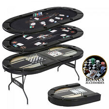 5-in-1 Folding Game Table, Poker Blackjack Chess Backgammon w/ Cards & Pieces