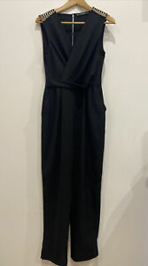 Zara Ladies designer black cross over gold trim long pant jumpsuit romper S / 10