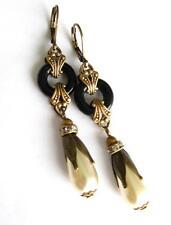 Vintage Art Deco Nouveau Black & Glass Pearl Drop Hoop Earrings Ornate Hand-Made