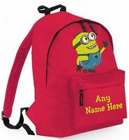 PERSONALISED MINIONS DESIGN RUCKSACK,BACKPACK for infants Juniors