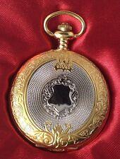 montre style ancienne métal couleur or et argent rodié gravé finement quartz