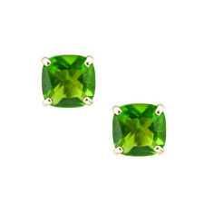 2.00 CT. 14K SOLID YELLOW GOLD CUSHION CUT PERIDOT STUD EARRINGS BASKET SETTING