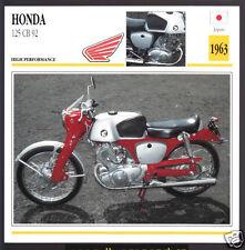1963 Honda 125cc CB 92 Japan Bike Motorcycle Photo Spec Sheet Info Stat Card