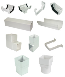 SQUARE LINE STATIC CARAVAN WHITE GUTTER DOWNPIPE CHANNEL CLIPS BRACKET ALL PARTS