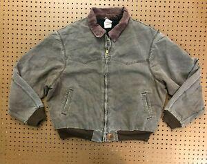 MENS 2XL - Vtg Carhartt J14 Sandstone Flannel Quilt Lined Santa Fe Jacket