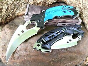 👀 Star Trek Klingon Style Karambit Knife Talon EDC Blade Tip-Up 3CR13 Blue 👀