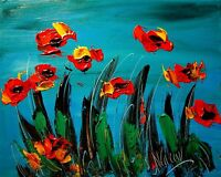 RED POPPIES Large Abstract Modern Original Oil Painting by Mark Kazav TYTYJ