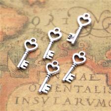 60pcs Key with heart Charms Silver tone samll key Charms pendant 8x20mm