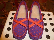 """New I Love UGG Girls Shoes/Loafers Sued Wool Insoles Purple/Red size 4, 9""""length"""