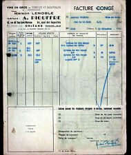 """ORLEANS (45) VINS en gros """"LENOBLE / A. PIOUFFRE"""" en 1952"""