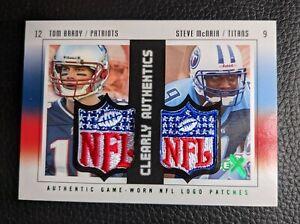 2004 FLEER EX GAME WORN AUTHENTIC NFL LOGO DUAL PATCH TOM BRADY STEVE MCNAIR 1/1