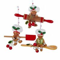 Gingerbread Chefs Rolling Pin Spoon Spatula Christmas Holiday Ornaments Set of 3