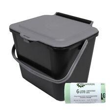 5L Black & Silver Grey Kitchen Compost Caddy/Food Bin & 50x 6L Compostable Bags