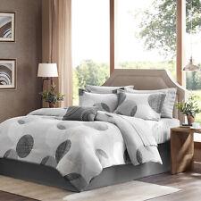 Beautiful Modern Chic Black Grey Dots Stripe Bed In Bag Comforter Set & Sheets