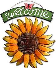 Sunflower Welcome Sign Statue Sculpture Garden Yard Art Decor Porch Patio Lawn
