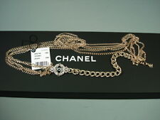 "Chanel Eye Love Long Necklace Belt Gold Chains Blue ""CC"" Crystals NEW Box 2016K"