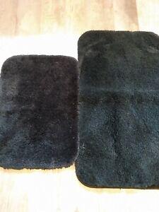 Bath mat rug set black plush rubber back 16 x 23 & 17 x 33 2 piece set