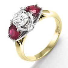 14k Two-Tone Gold Diamond Three-Stone Ruby Engagement Ring