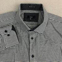 MMXIV Button Up Shirt Mens XXL Black White Stripe Long Sleeve Casual