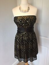 Stunning Spotlight By Warehouse Prom Dress Gown Black Gold Size 16 Strapless