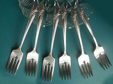 Queen Bess 6 Dessert Salad Forks Oneida 1946 Silverplate Flatware