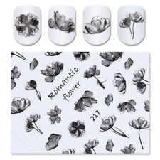Ink Painting Flower Black 3D Nail Sticker Nail Art Tips Transfer Manicure Decals